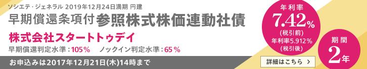 年利率7.42%(税引前) スタートトゥデイ株価連動社債