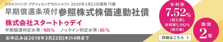 年利率7.52%(税引前) スタートトゥデイ株価連動債