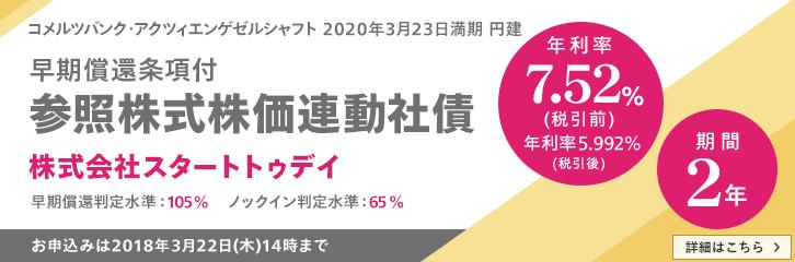 株価連動債スタートトゥデイ7.52%