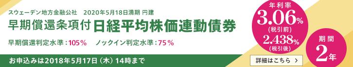 年利率3.06%(税引前) 日経平均株価連動債券