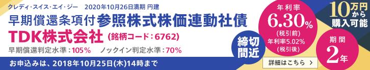 年利率6.30%(税引前)TDK 株価連動社債