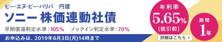 年利率5.65%(税引前)ソニー株価連動社債