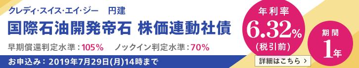 年利率6.32%(税引前)株価連動社債(国際石油開発帝石)