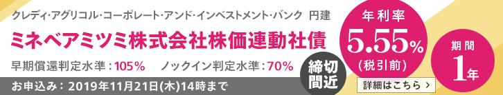 年利率5.55%(税引前)ミネベアミツミ株価連動社債