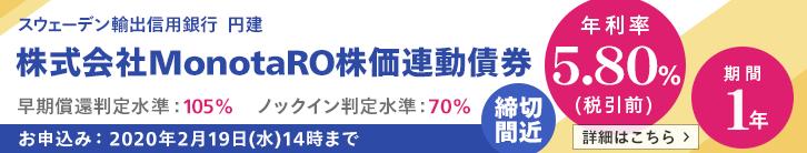 年利率5.80%(税引前)MonotaRO株価連動債券