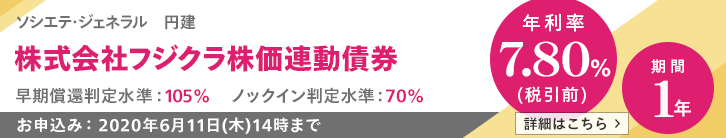 年利率7.80%(税引前)フジクラ株価連動債券