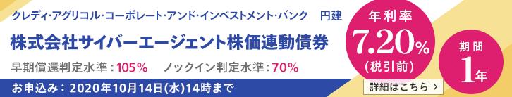 年利率7.2%(税引前)サイバーエージェント株価連動債券