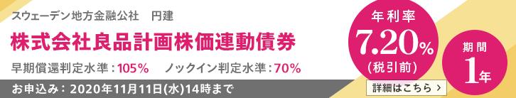 年利率7.20%(税引前)良品計画株価連動債券