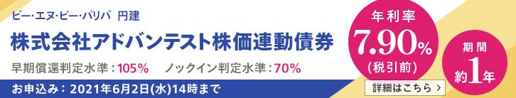 年利率7.90%(税引前)アドバンテスト株価連動債券