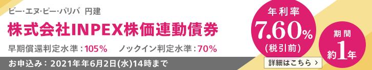 年利率7.60%(税引前)INPEX株価連動債券
