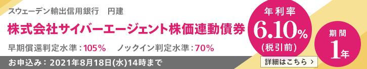 年利率6.10%(税引前)サイバーエージェント株価連動債券